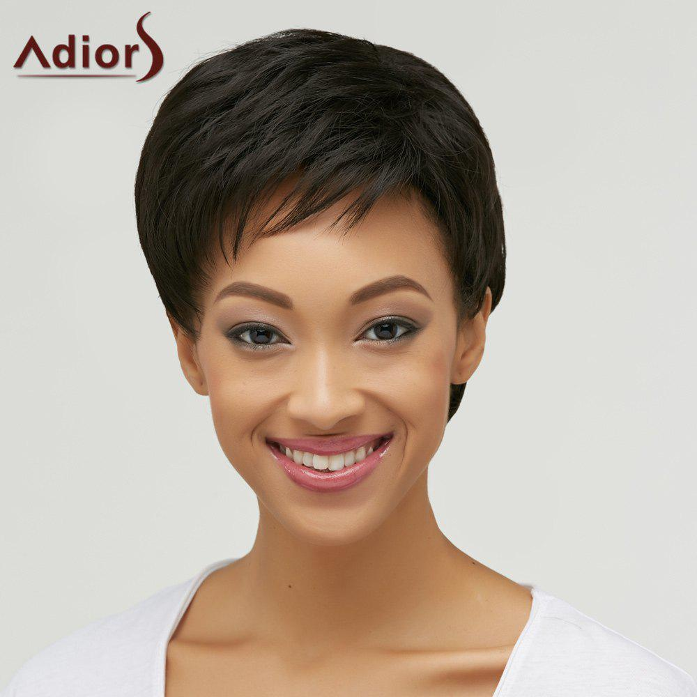 Short Straight Side Bang Boy Cut Heat Resistant Fiber WigHAIR<br><br>Color: BLACK; Type: Full Wigs; Cap Construction: Capless; Style: Straight; Material: Synthetic Hair; Bang Type: Side; Length: Short; Length Size(CM): 25; Weight: 0.297kg; Package Contents: 1 x Wig;