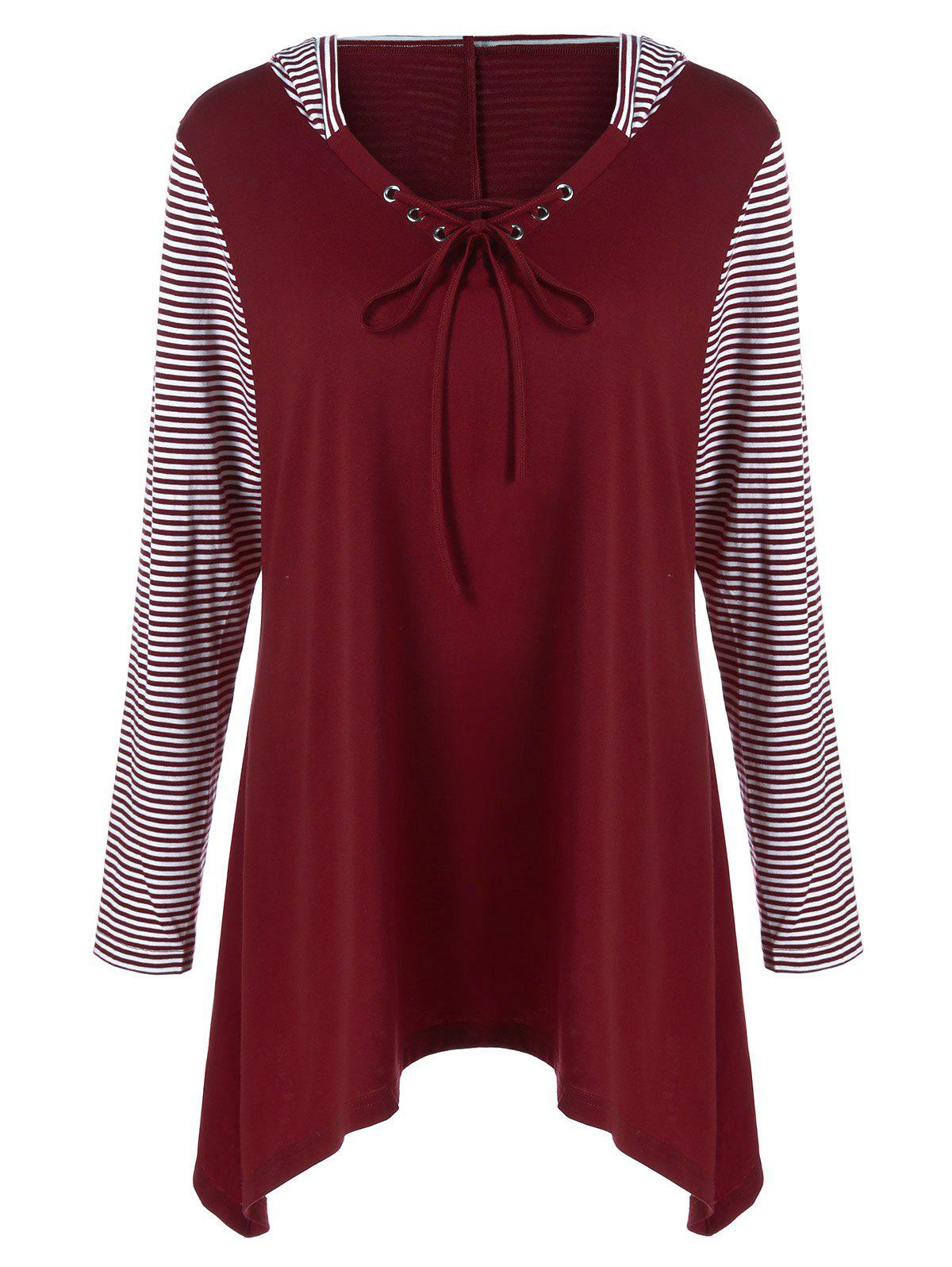 Plus Size Asymmetrical Striped Hooded T-ShirtWOMEN<br><br>Size: 2XL; Color: BURGUNDY; Material: Polyester,Spandex; Shirt Length: Long; Sleeve Length: Full; Collar: Hooded; Style: Casual; Season: Fall,Spring; Pattern Type: Striped; Weight: 0.390kg; Package Contents: 1 x T-Shirt;
