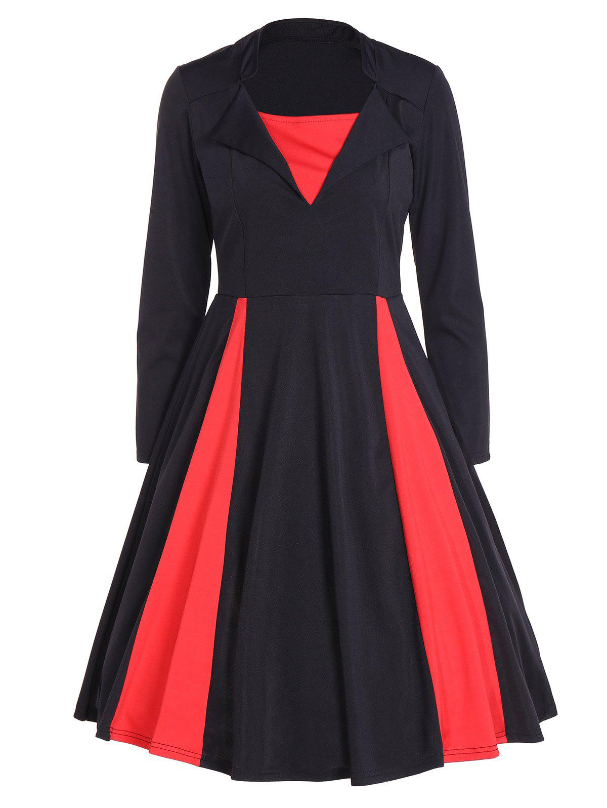 Store Vintage Color Block Long Sleeve Pin Up Dress