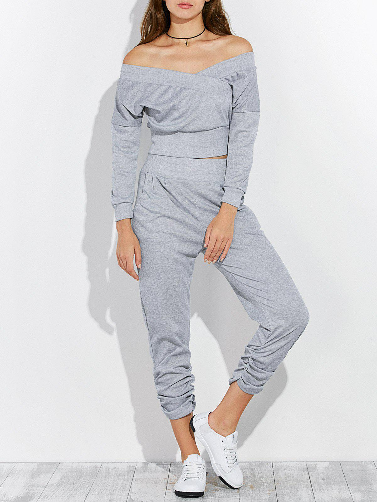 Online Open Back Off The Shoulder Tee and Pants Jogging Suit