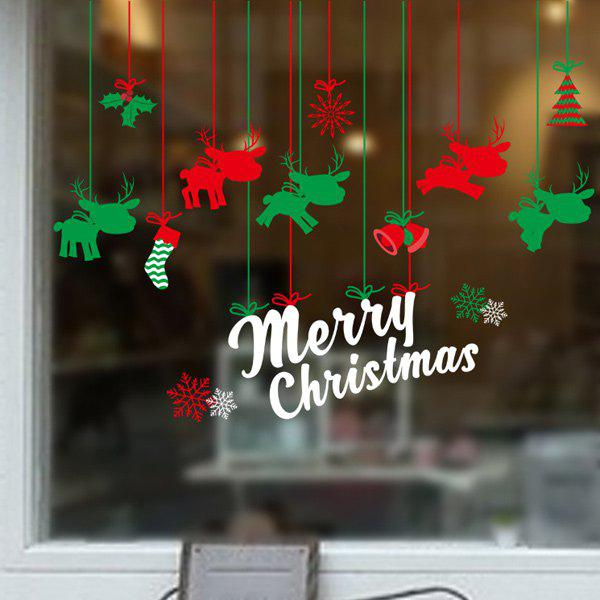 Home Decor Removable Elk DIY Pendants Christmas Wall StickersHOME<br><br>Color: RED AND GREEN; Wall Sticker Type: Plane Wall Stickers; Functions: Decorative Wall Stickers; Theme: Christmas; Material: PVC; Feature: Removable; Size(L*W)(CM): 60*90; Weight: 0.375kg; Package Contents: 1 x Wall Stickers;