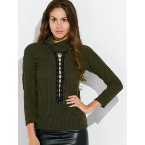 Lace Up Mock Neck Tee - ARMY GREEN XL