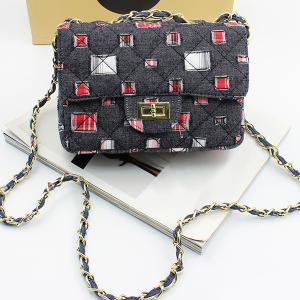 Holes Denim Argyle Crossbody Bag