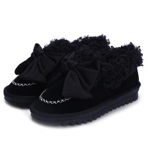 Bowknot Faux Lamb Wool Stitching Snow Boots -