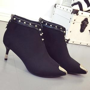 Metal Toe Rivets Zipper Ankle Boots