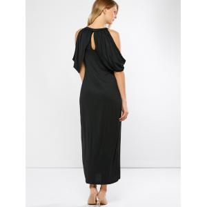 Keyhole Slit Open Shoulder Maxi Party Dress -
