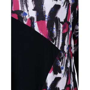 Plus Size Asymmetrical Chinese Painting T-Shirt - COLORMIX XL