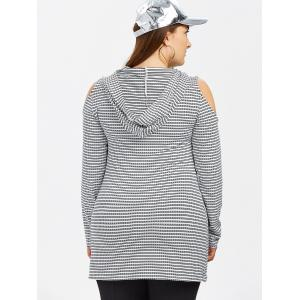 Plus Size Cold Shoulder Striped Hooded T-Shirt -