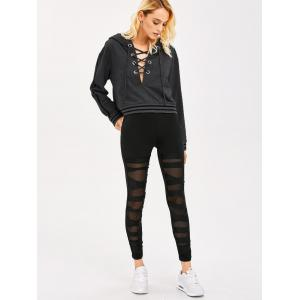 Lace-Up Striped Trim Crop Hoodie -