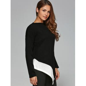 Slash Neck Asymmetrical Knitwear - WHITE AND BLACK M