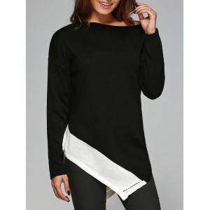 Slash Neck Asymmetrical Knitwear