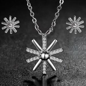 Rhinestone Sunflower Necklace and Earrings -