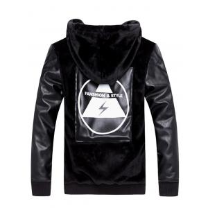 Zip Up PU Insert Applique Hooded Plush Jacket -