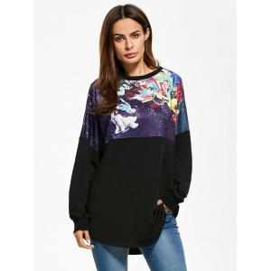 3D Print Long Drop Shoulder Sweatshirt - BLACK ONE SIZE