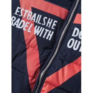 Zip Up Graphic Printed Quilted Jacket -