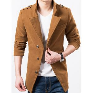 Epaulet Design Single Breasted Wool Blend Jacket