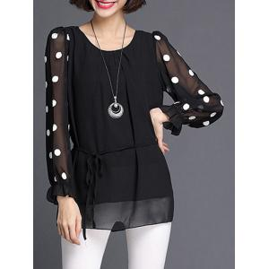 Polka Dot Long Sleeve Chiffon Blouse