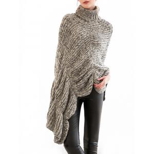 Scalloped Turtleneck Asymmetric Poncho Sweater