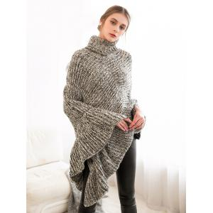 Scalloped Turtleneck Asymmetric Poncho Sweater - GRAY ONE SIZE