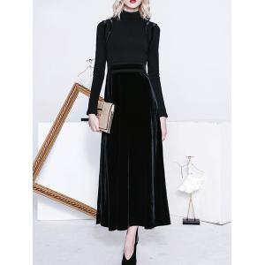 Maxi High Neck Long Sleeve Velvet Formal Dress - Black - M