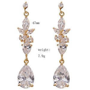 Rhinestone Water Drop Dangle Earrings -