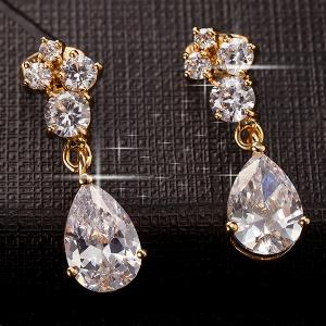 Faux Crystal Water Drop Dangle Earrings -