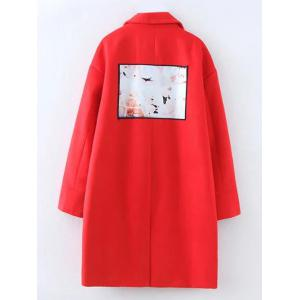 Plus Size Picture Patched Lapel Coat -