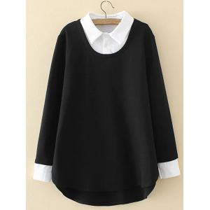 Plus Size Shirt Collar Insert Sweatshirt - Black - 3xl