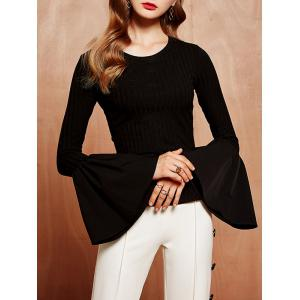 Bell Sleeve Slit T-Shirt With Pocket