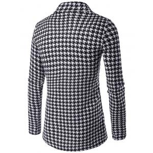 Houndstooth Knitted Open Front Cardigan - BLACK 2XL