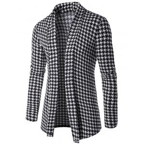 Houndstooth Knitted Open Front Cardigan