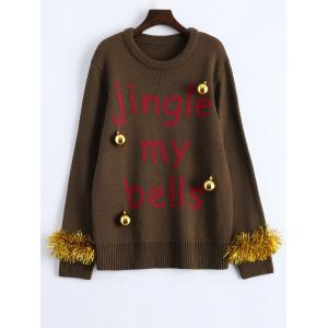 Christmas Decorations Embellished Graphic Sweater - Brown - M