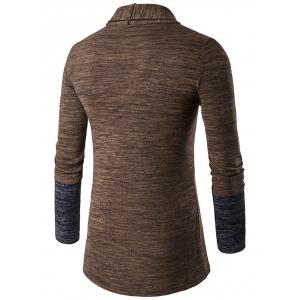 Space Dye Contrast Panel Open Front Cardigan - COFFEE 2XL