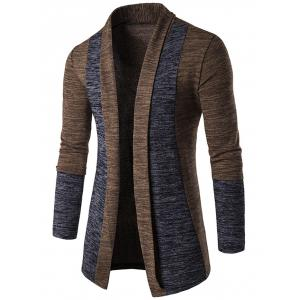 Space Dye Contrast Panel Open Front Cardigan - Coffee - L