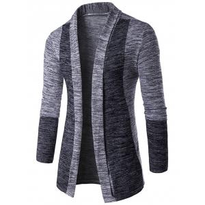 Space Dye Contrast Panel Open Front Cardigan - Light Gray - L