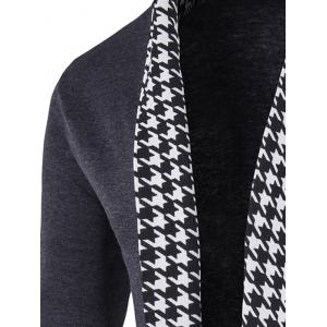 Knitted Houndstooth Open Front Cardigan - GRAY 2XL