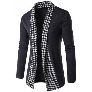 Knitted Houndstooth Open Front Cardigan - Gray - M