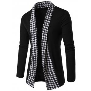 Knitted Houndstooth Open Front Cardigan