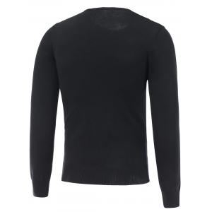 Long Sleeve Crew Neck Graphic Sweater - BLACK 2XL