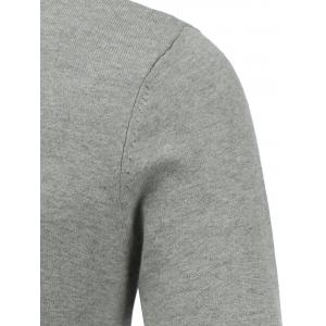 Long Sleeve V Neck Feather Graphic Sweater - GRAY 2XL