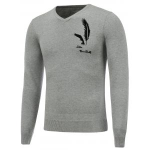 Long Sleeve V Neck Feather Graphic Sweater