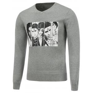 Long Sleeve V Neck Figure Print Sweater - Gray - L