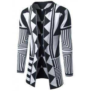 Geometric Pattern Open Front Cardigan - White - M