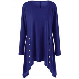 Long Sleeve Plus Size Double-Breasted Asymmetrical T-Shirt - Blue - 4xl