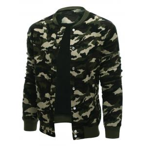 Rib Cuff Snap Button Up Camo Jacket - CAMOUFLAGE COLOR XL