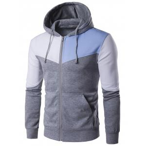 Contrast Panel Pocket Zip Up Hoodie