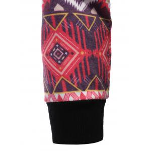 Pocket Tribal Print Panel Raglan Sleeve Hoodie - BLACK XL
