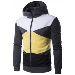 Pocket Contrast Panel Zip Up Hoodie