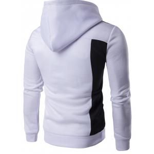 Long Sleeve Contrast Panel Pullover Hoodie - WHITE 2XL