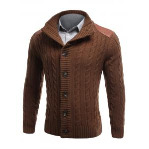 Shoulder Patch Button Front Twist Knit Cardigan